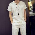 Set : Split-neck Short-Sleeve Linen Top + Shorts 1596