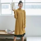 Ribbed Long Sleeve Knit Dress / Lace Hem Slipdress 1596