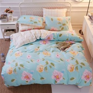 Floral Print Bedding Set: Bed Sheet + Duvet Cover + Pillow Cases 1063601940