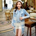 Lace Panel Long Knit Cardigan 1596