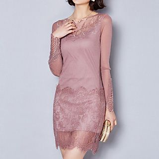 Lace Hem Mesh Panel Long-Sleeve Dress