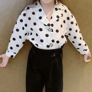 Image of Family Matching Dotted Chiffon Long-Sleeve Shirt