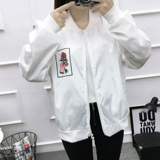 Image of Couple Matching Floral Embroidery Zip Bomber Jacket