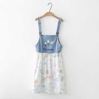 Image of Flower Print Panel Denim Pinafore Dress