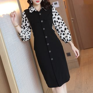 Image of 3/4-Sleeve Mock Two-Piece Buttoned Midi Shift Dress