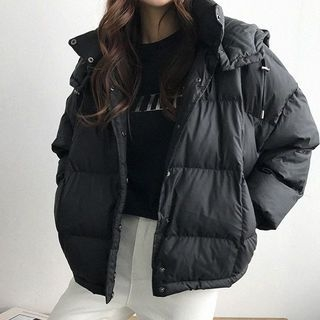 Detachable-Hood Duck-Down Puffer Jacket