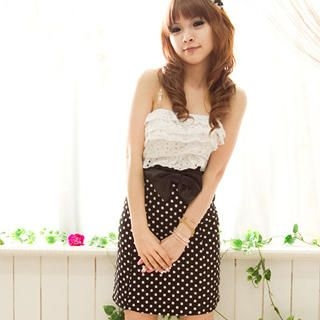 Buy Fashion Lady Strapless Ruffle Polka Dot Dress 1022585889