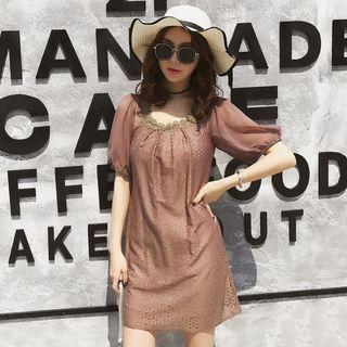 Image of Lace Panel Short Sleeve Dress