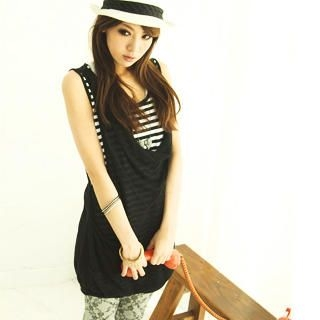 Buy CatWorld Inset Striped Tank Top Jumper Dress 1022763914