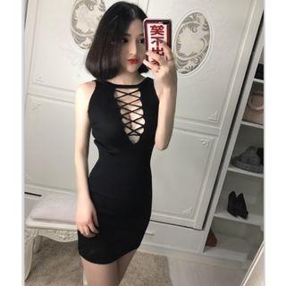 Lace Up Sleeveless Dress 1057614030