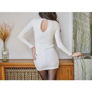 Cutaway-Detail Asymmetric-Hem Ribbed Dress 1055398337