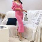 Set: Belted Knit Cardigan + H-Line Long Skirt 1596