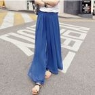 Plain Chiffon Wide-Leg Pants 1596