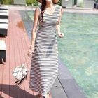 Stripe V-neck Sleeveless Dress 1596