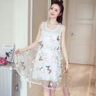 Maternity Sleeveless Applique Tulle Overlay Dress 1596