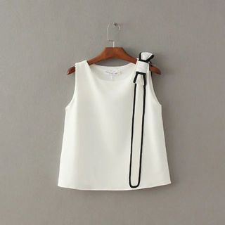 Contrast Trim Bow Accent Tank Top 1050994653