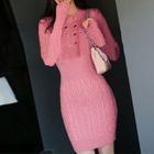 Long-Sleeve Buttoned Sweater Dress 1596