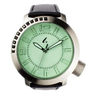 Green Diamond Lens Glass Black Leather Strap Watch 1028072025
