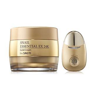 The Saem - Snail Essential EX 24K Gold Cream Set: Cream + Facial Massage Applicator
