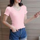 Frill Trim Ribbed Short-Sleeve T-Shirt 1596