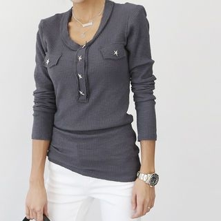 Star Button Ribbed Top 1062402298