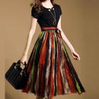 Short-Sleeve Tie Waist Chiffon Midi Dress 1596