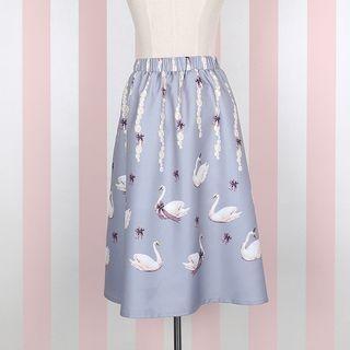 swan-print-midi-skirt