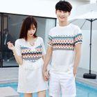 Couple Matching Patterned Short Sleeve T-Shirt / Fringed Short Sleeve Dress 1596