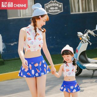 Family Matching Set: Print Swim Top + Swim Skirt 1049929197