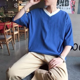 V-Neck Elbow-Sleeve T-Shirt 1065602830