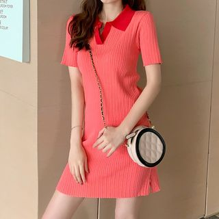 Image of Collared Short-Sleeve Mini Sheath Knit Dress Red - One Size