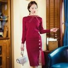 Set: Long-Sleeve Knit Top + Knit Skirt 1596