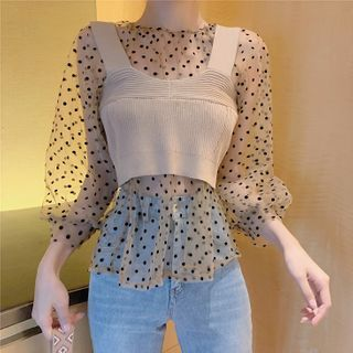 Image of Puff-Sleeve Dotted Top Dot - Almond - One Size