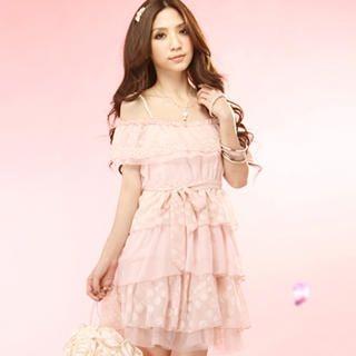 """Buy Tokyo Fashion Off-Shoulder """"Dot"""" Ruffle Chiffon Dress 1022996468"""