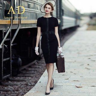 Image of Long/Short-Sleeve Stitched Sheath Dress