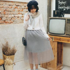 Accordion Pleated Tulle Skirt 1596
