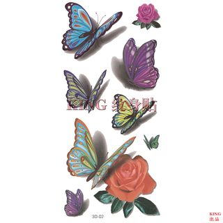 3D Butterfly and Rose Waterproof Temporary Tattoo