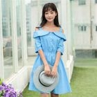 Off-shoulder Short-Sleeve Dress 1596