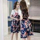 Set: Short-Sleeve T-Shirt + Strappy Floral Dress 1596