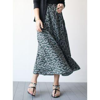 Leaf-Patterned Band-Waist Long Skirt 1058154790