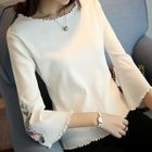 Embroidered Bell-Sleeve Sweater 1596