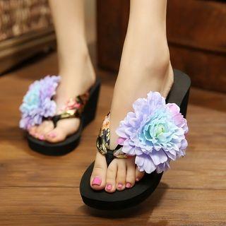 Flower Accent Wedge Flip-Flops 1061255979
