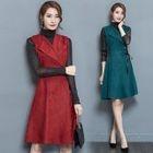 Set: Sleeveless Lapel Ribbon Midi Dress + Long-Sleeve Top 1596