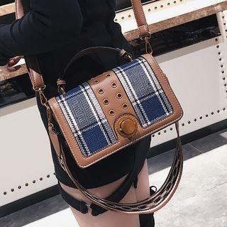 Plaid Panel Crossbody Bag
