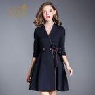 Double-Button Tie-Waist A-Line Dress 1596