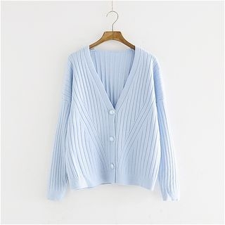 V-Neck Ribbed Cardigan 1053765258