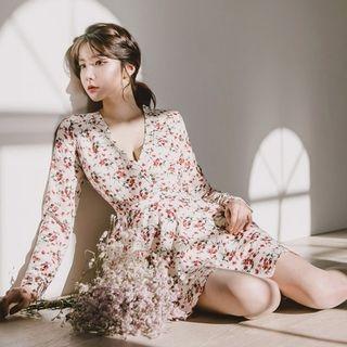 Hanbok Flared Mini Dress (Floral / Ivory) 1064672485