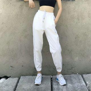 Image of Contrast Trim Drawstring Sweatpants