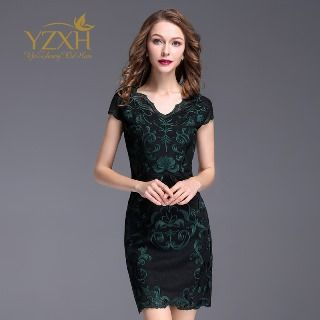 Image of Cap-Sleeve Embroidery Sheath Dress