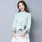 Printed 3/4 Sleeve Cheongsam Top 1596